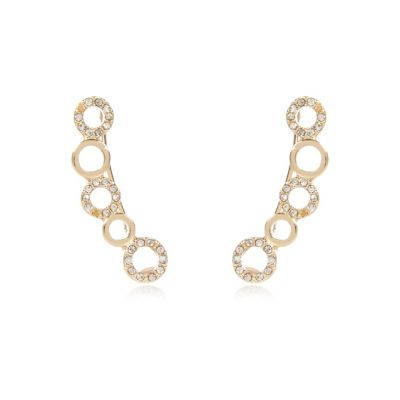 Gold tone diamanté ear cuffs