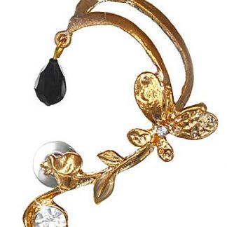 Guld Ear Cuff med Pärla, Stenar och Sommarfågel